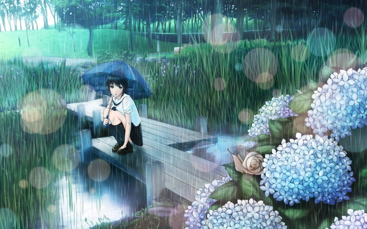 art hyp girl rain umbrella hydrangeas stream grass snail - Mưa nói với anh điều gì?