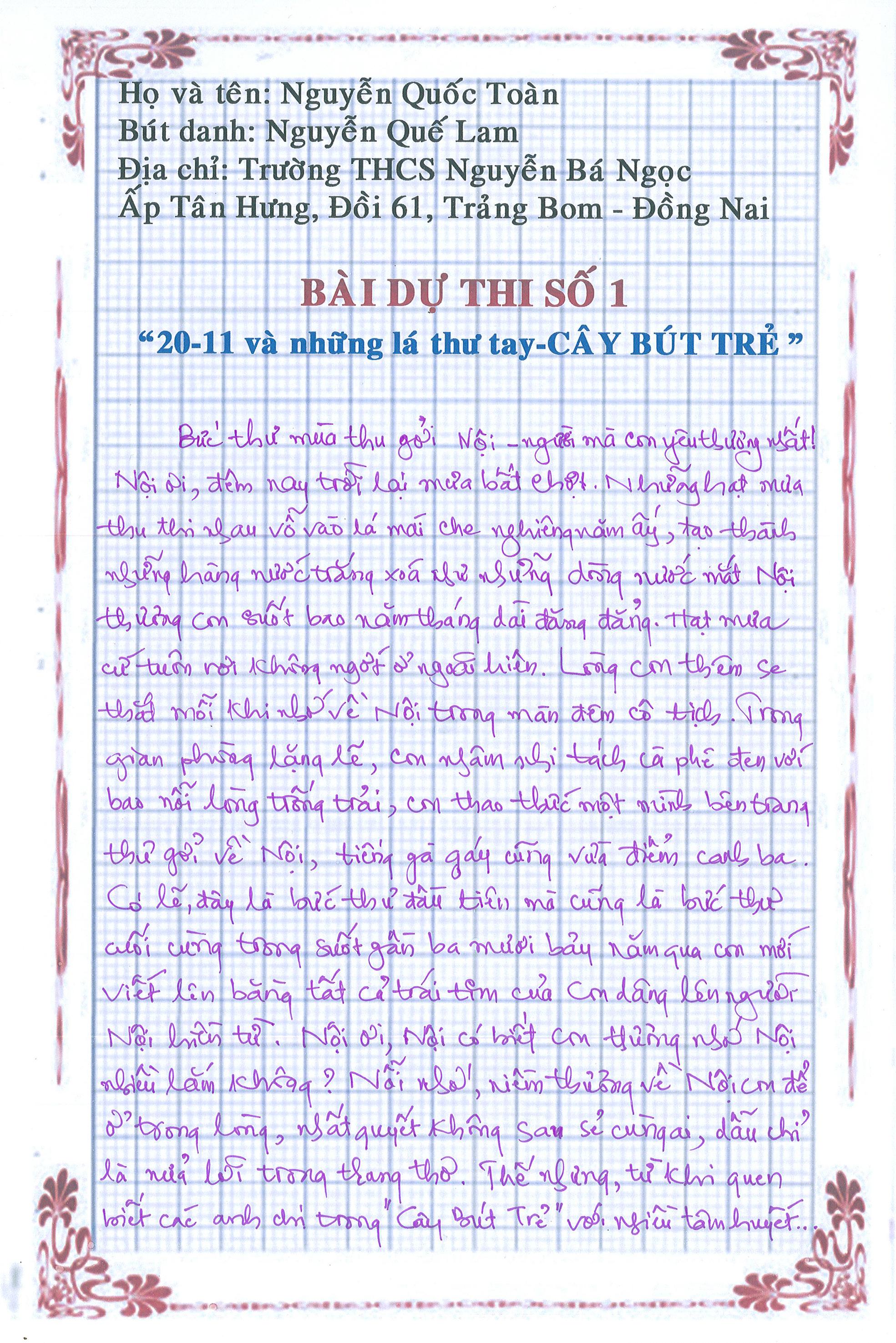 1 4 - [20/11 và những lá thư tay]: Bức thư mùa thu gửi Nội...