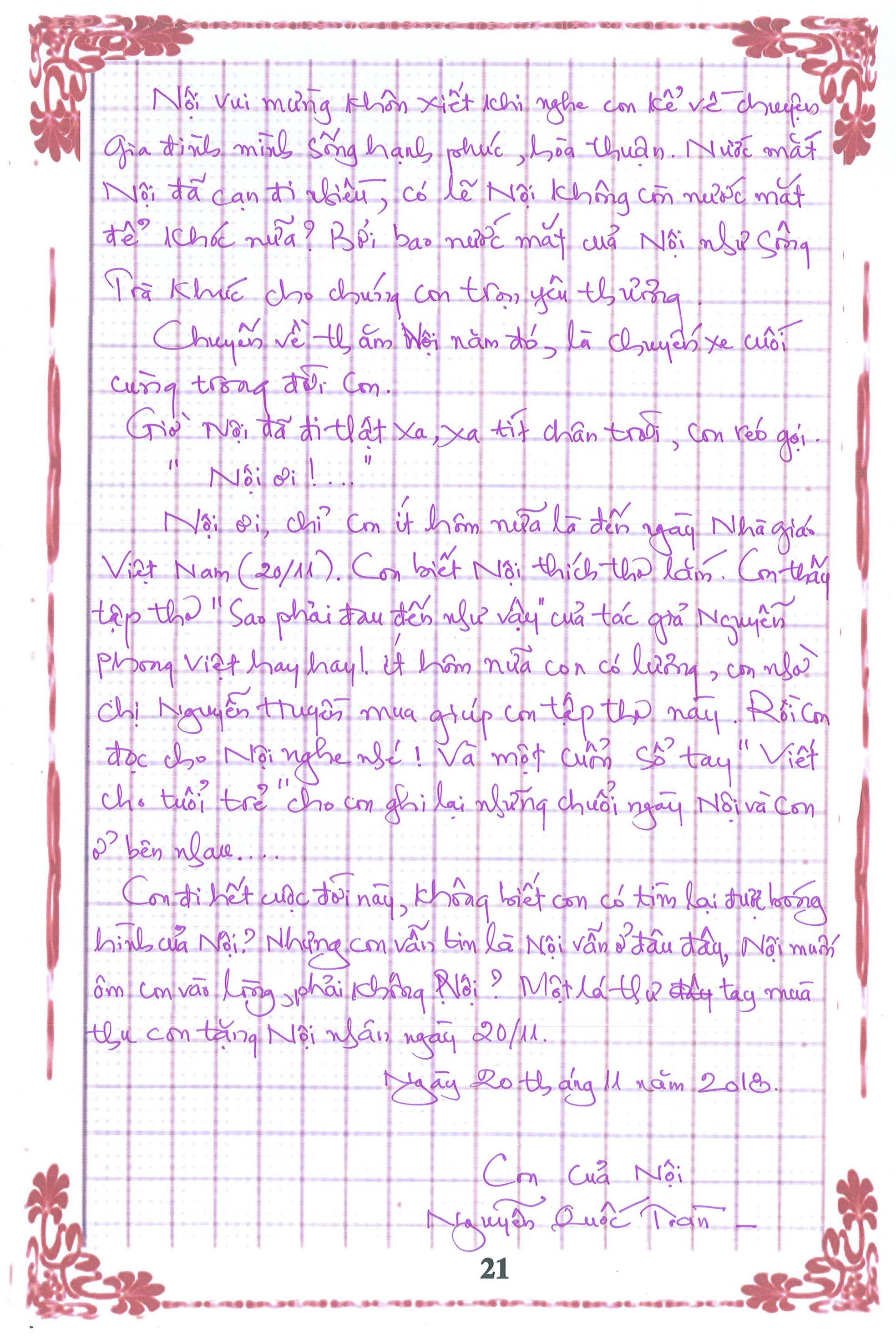 21 - [20/11 và những lá thư tay]: Bức thư mùa thu gửi Nội...