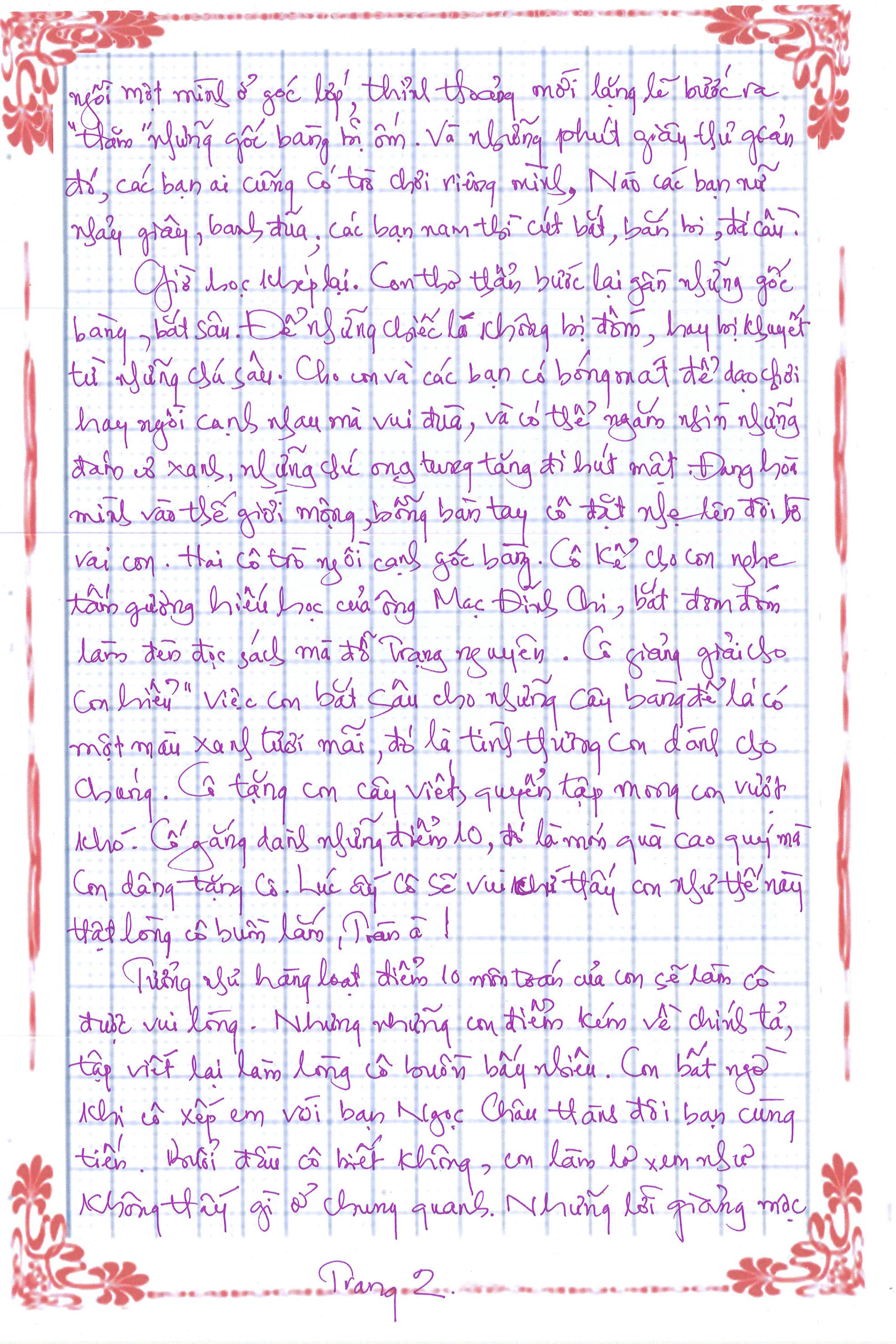 Bài dự thi số 3 trang 2 - [20/11 và những lá thư tay]: Gửi cô người mà con yêu thương