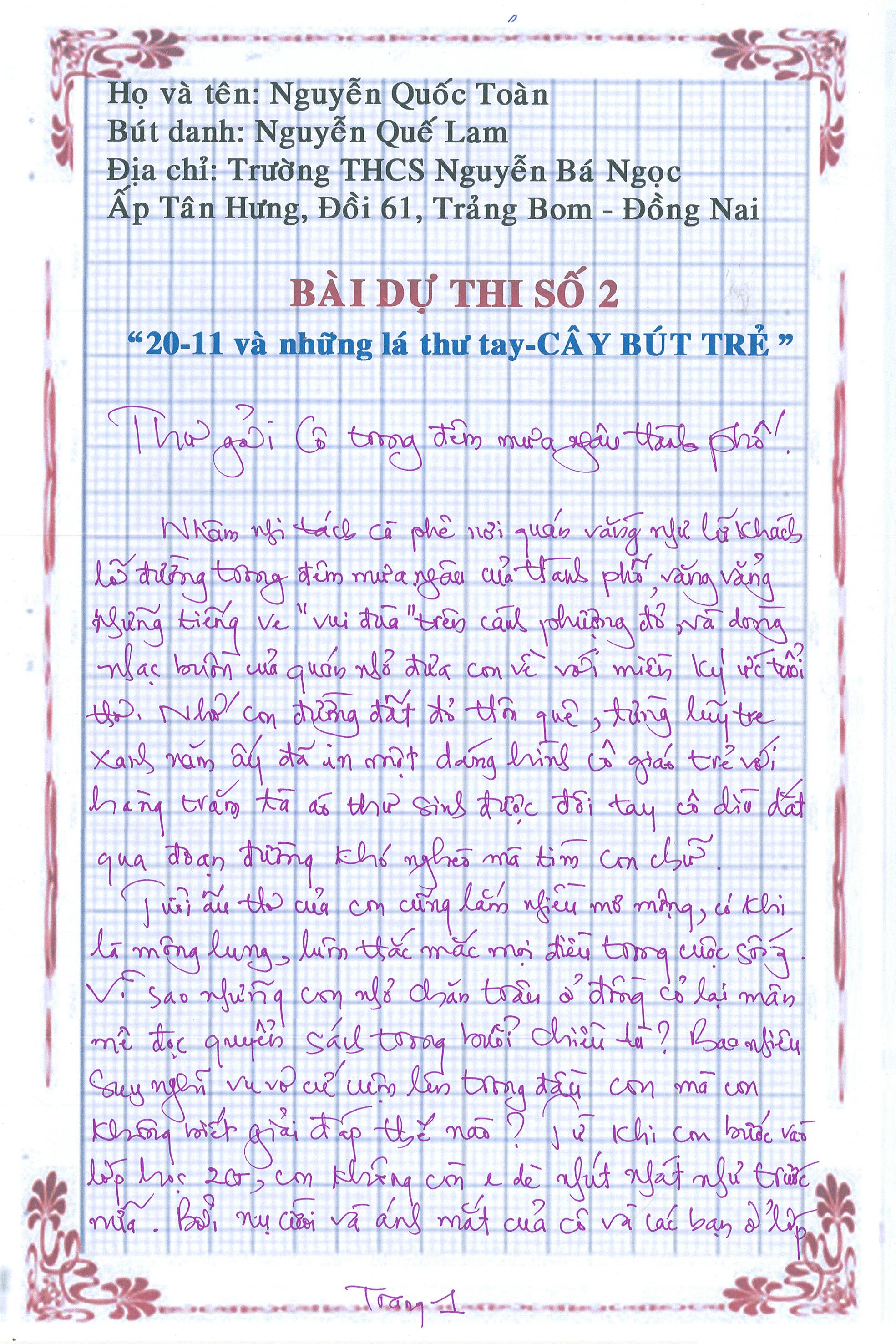 Bai du thi so trang 1 - [20/11 và những lá thư tay]: Thư gửi cô trong đêm mưa ngâu thành phố
