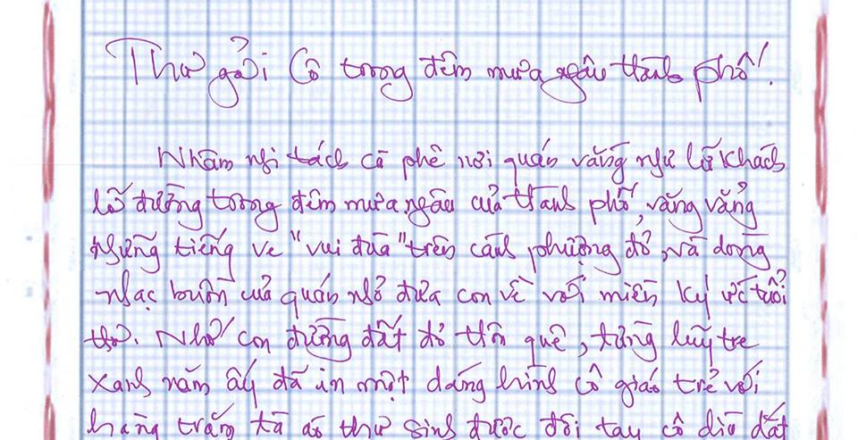 add - [20/11 và những lá thư tay]: Thư gửi cô trong đêm mưa ngâu thành phố