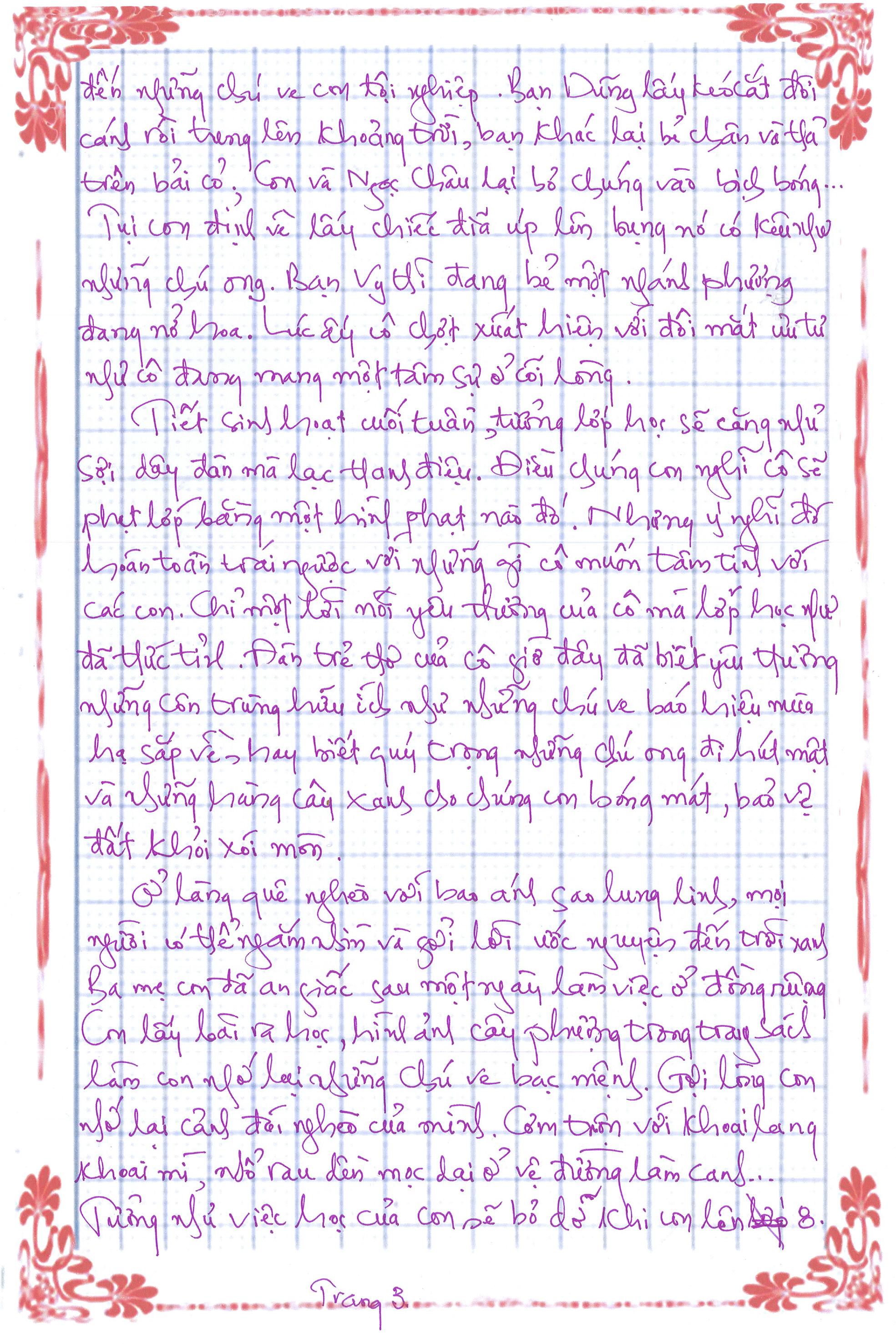 bai du thi so 2 trang 3 - [20/11 và những lá thư tay]: Thư gửi cô trong đêm mưa ngâu thành phố