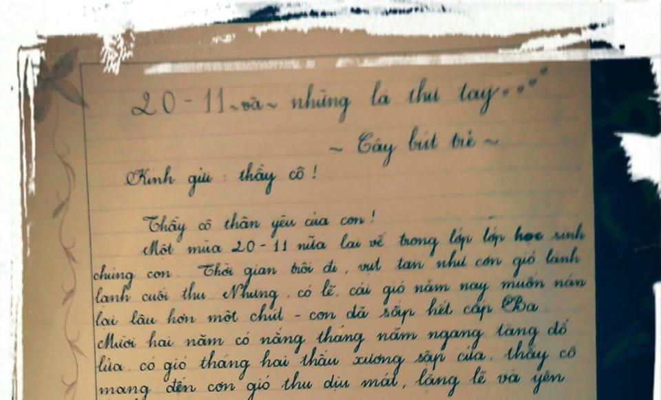 nguyen thanh tra - [20/11 và những lá thư tay]: Lá thư viết muộn