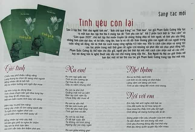 """ra mat tap tho tinh yeu con lai cua nha bao quoc cuong 2 - Ra mắt tập thơ """"Tình yêu còn lại"""" của nhà báo Quốc Cường"""